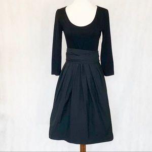 DKNY Black Obi Sash Full Skirt Cocktail Dress